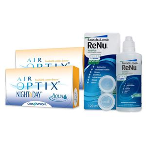 Imagine AIR OPTIX® NIGHT&DAY® AQUA (2x6buc.) + ReNu MultiPlus® (120ml)