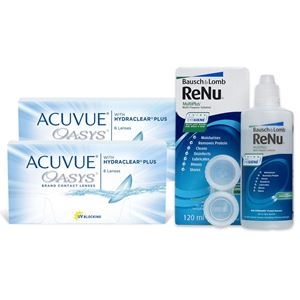 Imagine ACUVUE® OASYS® with HYDRACLEAR® PLUS (2x6buc.) + ReNu MultiPlus® (120ml)