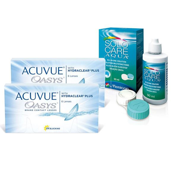 Imagine ACUVUE® OASYS® with HYDRACLEAR® PLUS (2x6buc.) + SoloCare® (90ml)